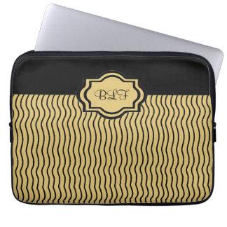 chic ipad sleeve, kakki/black waby stripe monogram laptop computer sleeve