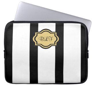 chic ipad sleeve, kakki/blackstripes/ monogram computer sleeves