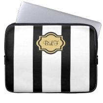 chic ipad sleeve, kakki/blackstripes/ monogram laptop sleeve