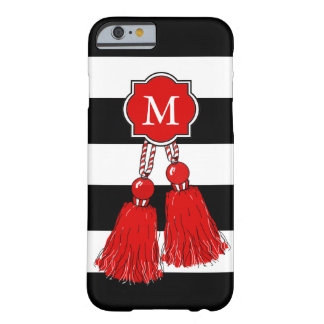 CHIC IPHONE6/6S CASE_RED TASSELS, BLACK STRIPE BARELY THERE iPhone 6 CASE