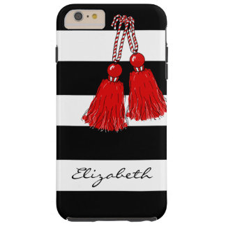 CHIC IPHONE6 CASE_GIRLY RED TASSELS/BLACK STRIIPES TOUGH iPhone 6 PLUS CASE