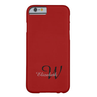 CHIC IPHONE6 CASE_GRAY NAME/GRAY INITIAL ON RED BARELY THERE iPhone 6 CASE