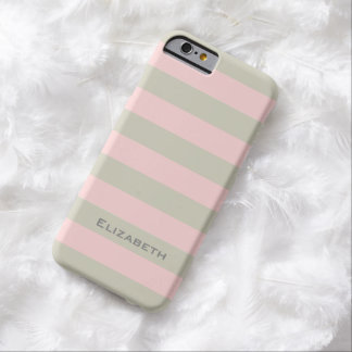 CHIC IPHONE6 CASE_PINK/LINEN/WHITE STRIPE #7 BARELY THERE iPhone 6 CASE