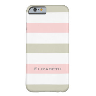 CHIC IPHONE6 CASE_PINK/LINEN/WHITE STRIPES #1 BARELY THERE iPhone 6 CASE