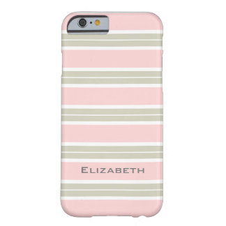 CHIC IPHONE6 CASE_PINK/LINEN/WHITE STRIPES #4 BARELY THERE iPhone 6 CASE