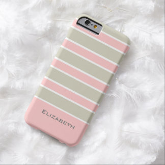CHIC IPHONE6 CASE_PINK/LINEN/WHITE STRIPES #6 BARELY THERE iPhone 6 CASE