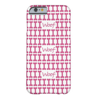 """CHIC IPHONE6 CASE_PINK """"WOOF"""" AND BONES BARELY THERE iPhone 6 CASE"""