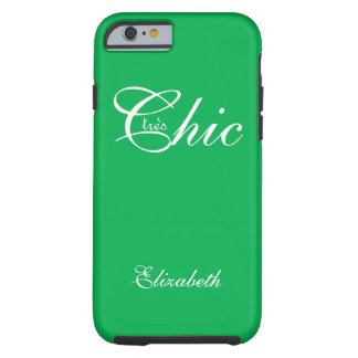 "CHIC IPHONE6 CASE_""tresChic"" 172 GREEN/WHITE Tough iPhone 6 Case"