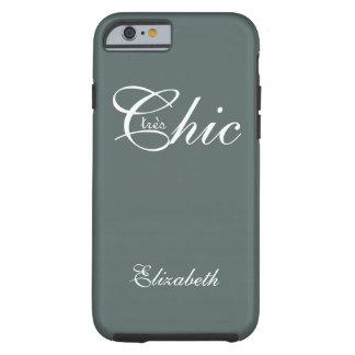 "CHIC IPHONE6 CASE_""tresChic"" PEWTER/WHITE Tough iPhone 6 Case"