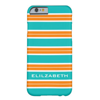 CHIC IPHONE6 CASE_TURRQUOISE/ORAN/WHITE STRIPES #5 BARELY THERE iPhone 6 CASE