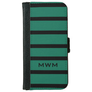 CHIC IPHONE6 WALLET CASE_BLACK STRIPES ON 369 TEAL