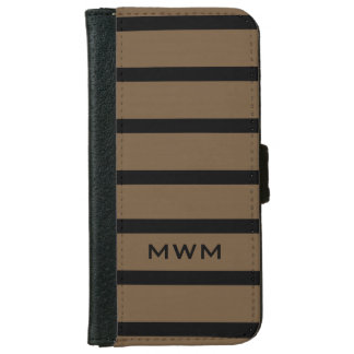 CHIC IPHONE6 WALLET CASE_BLACK STRIPES ON 39 BROWN iPhone 6 WALLET CASE