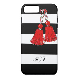 CHIC iPhone7 CASE_GIRLY RED TASSELS/BLACK STRIIPES iPhone 7 Plus Case