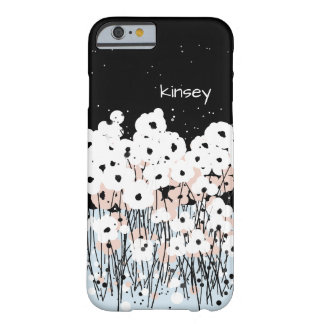 CHIC IPONE 6 CASE_MOD PINK/ WHITE & BLACK POPPIES BARELY THERE iPhone 6 CASE