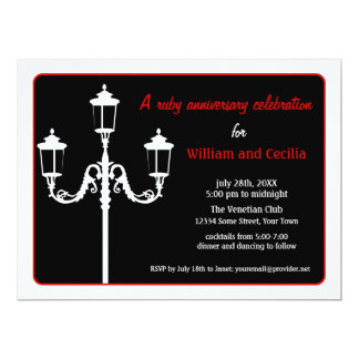 Chic Italian Lamp Post Silhouette Invitation- Red Card