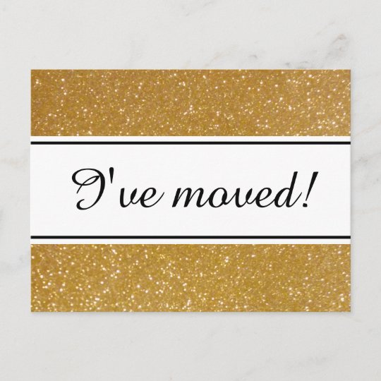 Chic I Ve Moved Faux Gold Glitter Moving Postcards
