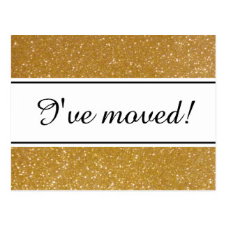 Chic I've moved faux gold glitter moving postcards