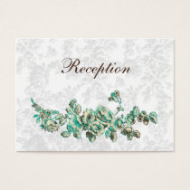 Chic Ivory and Teal Vintage Floral Wedding Business Card