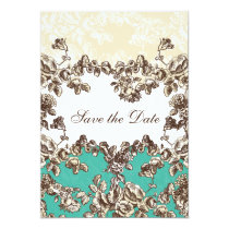Chic Ivory and Teal Vintage Floral Wedding Card