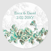 Chic Ivory and Teal Vintage Floral Wedding Classic Round Sticker