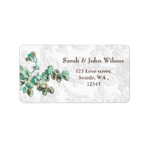 Chic Ivory and Teal Vintage Floral Wedding Label