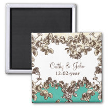 Chic Ivory and Teal Vintage Floral Wedding Magnet