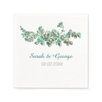 Chic Ivory and Teal Vintage Floral Wedding Paper Napkin