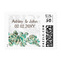Chic Ivory and Teal Vintage Floral Wedding Postage