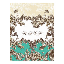 Chic Ivory and Teal Vintage Floral Wedding Postcard
