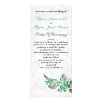 Chic Ivory and Teal Vintage Floral Wedding Rack Card