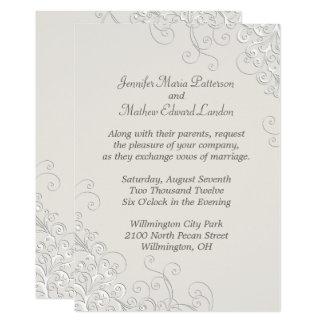 Chic Ivory and White Classic Wedding Invitation