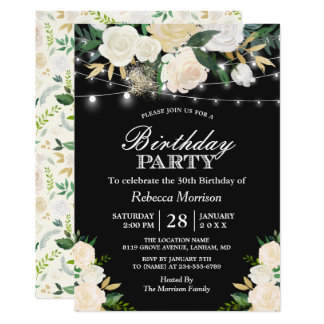 Chic Ivory Floral String Lights Birthday Party Card