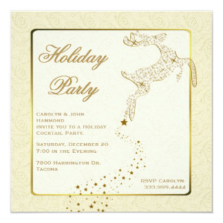 Chic Ivory & Gold Holiday Party Invitation
