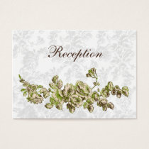 Chic Ivory Green Vintage Floral Wedding Business Card