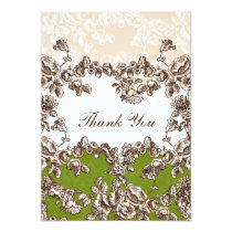 Chic Ivory Green Vintage Floral Wedding Card