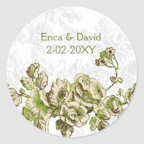 Chic Ivory Green Vintage Floral Wedding Classic Round Sticker