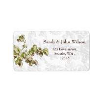Chic Ivory Green Vintage Floral Wedding Label