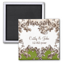 Chic Ivory Green Vintage Floral Wedding Magnet