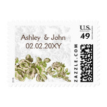 Chic Ivory Green Vintage Floral Wedding Postage