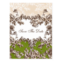 Chic Ivory Green Vintage Floral Wedding Postcard