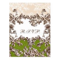 Chic Ivory Green Vintage Floral Wedding Postcard