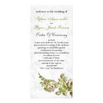 Chic Ivory Green Vintage Floral Wedding Rack Card