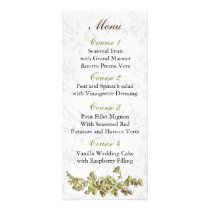 Chic Ivory Green Vintage Floral Wedding Rack Card