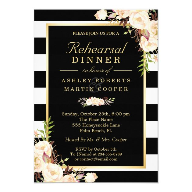 Chic Ivory White Flowers Wedding Rehearsal Dinner Card