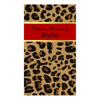 Girly business cards chic jaguar print business card colourmoves Images