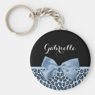 Chic Jaguar Print Light Blue Bow With Name Keychain