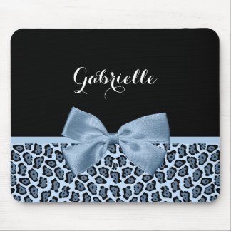 Chic Jaguar Print Light Blue Bow With Name Mouse Pad