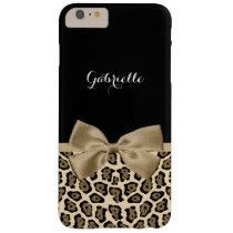 Chic Jaguar Print With Tan Ribbon and Name Barely There iPhone 6 Plus Case