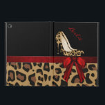 """Chic Jaguar Stilettos iPad Air 2 Case Stand<br><div class=""""desc"""">Stylish iPad Air 2 case, with built in stand and graphics of a spotted brown and black colored jaguar fur pattern, on the bottom, with a solid black on the top, of the case. Graphics of a red satin looking ribbon runs across the middle and has a pretty red bow,...</div>"""