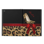 Chic Jaguar Stilettos iPad Air 2 Case Stand<br><div class='desc'>Stylish iPad Air 2 case, with built in stand and graphics of a spotted brown and black colored jaguar fur pattern, on the bottom, with a solid black on the top, of the case. Graphics of a red satin looking ribbon runs across the middle and has a pretty red bow,...</div>